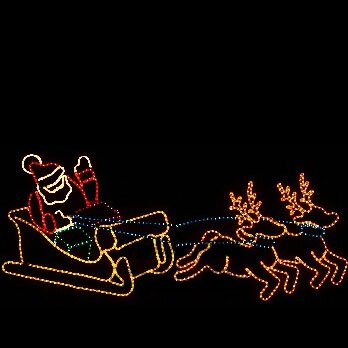 Outdoor Lighted Christmas Santa Reindeer Decoration in US - 9