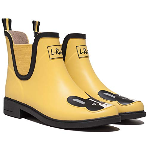 L-Rain LR Women's Short Rain Boots Waterproof and Anti-Slipping Rain Shoes Chelsea Booties-Yellow Boston Terrier-Size - Terrier Gifts