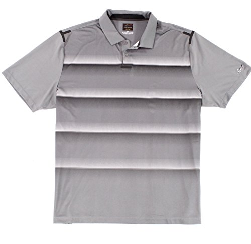 Greg Norman for Tasso Elba Men Small Stripe Polo Rugby Shirt Gray S