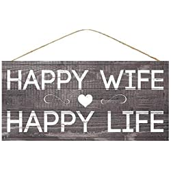 "GiftWrap Etc. Happy Wife Happy Life Sign - 12.5"" x 6"", Funny Wedding Present, Home Decor, Kitchen, Yard, Front Door, Patio, Anniversary, Adage, Wisdom, Christmas, Mother's Day, Just Married"