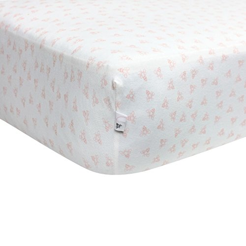 Burt's Bees Baby - Fitted Crib Sheet, Girls & Unisex 100% Organic Cotton Crib Sheet for Standard Crib and Toddler Mattresses (Blossom Pink Honeybee -