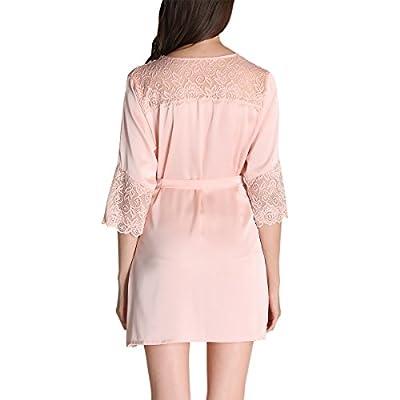 SJINC Women's Short Kimono 3/4 Sleeve Solid Silky Satin Bridesmaid Lingerie Robes