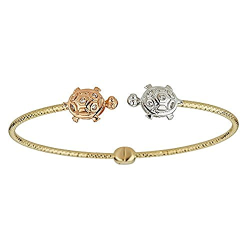 (Decadence 14K Tri-Color Diamond Cut Turtle Bangle with Cubic Zirconia)