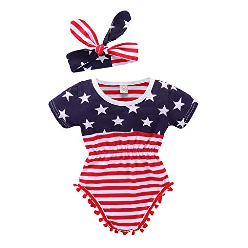 2pcs Newborn Baby Boys Girls July 4th Patriotic Romper Outfits Set Short Sleeve Star Spangled Jumpsuit + Bow Headband (Navy, 0-3M)