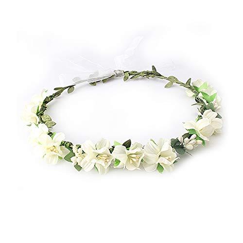 (Girls Wedding Flower Crown Wreath Bohemian Vine Adjustable Yarn Garland Sweet Hair Bands Accessories For Bride Bridesmaid,c)