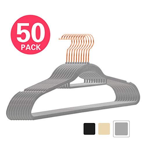MIZGI Premium Velvet Hangers - Pack of 50 - Gray - Copper/Rose Gold Hooks - Non-Slip Suit Hangers Bonus Accessory Bar Suits, Pants, Dresses ()