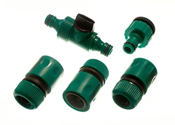 3 FEMALE QUICK FIX GARDEN HOSE FITTINGS 1 IN LINE TAP AND 1 TAP