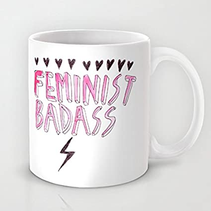 QoiueoF Feminist Badass Monogram White Mugs - 11 ounces