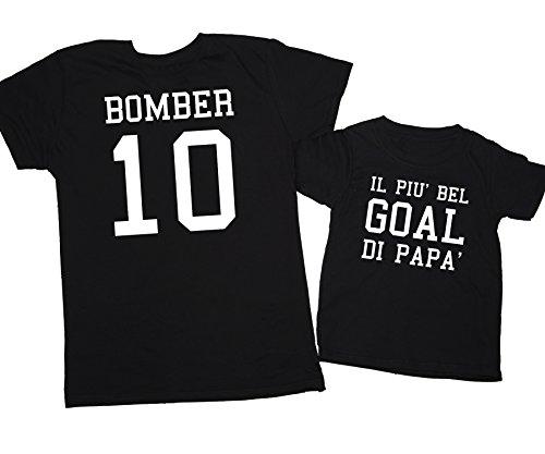 Eventi Del Papà Nero Festa Coppia T Calcio Image Bomber shirt Goal wqIpzzvt