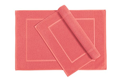 Welhome Cotton Set of 2 Bath Mats; 20 X 30 Inch, Soft and Absorbent Coral