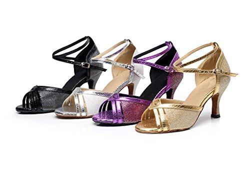 Minitoo Glitter latine Toe Peep de Noir Nero danse femmes Chaussures nero qgrq5aw