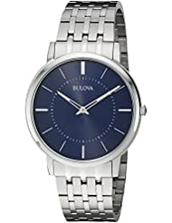 Bulova Mens Quartz Stainless Steel Dress Watch, Color:Silver-Toned (Model: 96A188)