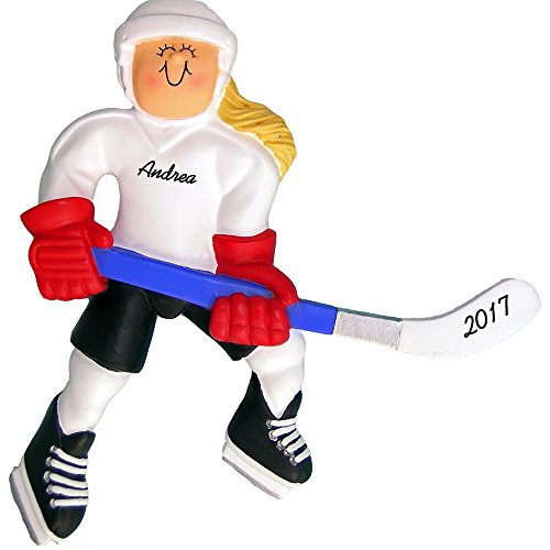 "Hockey Personalized Christmas Ornament - Female Player - Blonde Hair - Handpainted Resin - 4.5"" tall - Free Customization"