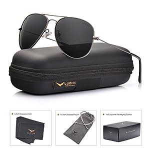 LUENX Men Women Aviator Sunglasses Grey Polarized Non-Mirrored Metal Frame - UV 400 60MM with Accessories Classic style