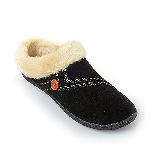 Clarks Womens Kimberly Suede Clog Slipper With Faux Fur Lining