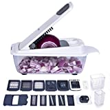 Vegetable Chopper,Ommani Food Chopper Cutter 11 Interchangeable Stainless Steel Blades Multifunction More Container Capacity Strongest Heavier Duty Multi Vegetable Fruit Cheese Onion Chopper Dicer Kit
