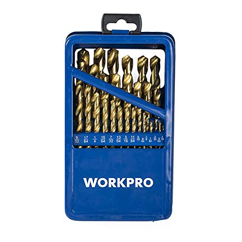 (WORKPRO Drill Bit Set, 29-piece Titanium Twist Drill Bits Kit, 1/16-inch to 1/2-inch with Durable Metal Case)