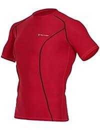 Men's Short Sleeve T-Shirts Baselayer Cool Dry Compression Top Running Yoga Rashguard MTS7317