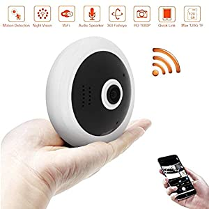 BlueHills Black Compact Security Camera for Ceiling or Walls HD 1080P Night Vision Motion Detector & Two-Way Audio – Monitor Front-Door Home Business Kids Baby Dog Cat & Pets with App in Cell Phone