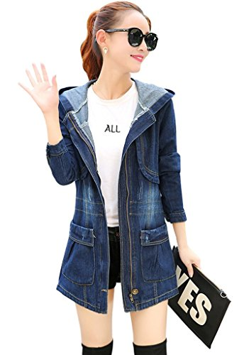 Wincolor Women's Winter Loose Fit Zip Up Hooded Denim Jean Trench Jacket Long Coat
