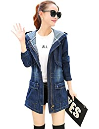 Wincolor Womens Zipper Up Long Denim Jean Jackets Trench Coat with Hoodie