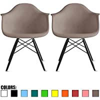 2xhome - Set of Two (2) Grey / Taupe - Eames Style Armchair Natural Wood Legs Eiffel Dining Room Chair - Lounge Chair Arm Chair Arms Chairs Seats Wooden Wood Leg Wire Leg Dowel Leg Base Chrome Metal
