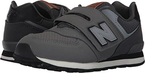 New Balance Boys' KV574 Hook and Loop Sneaker, Grey/Black, 7 Wide US Little Kid by New Balance