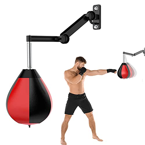 Speed Bag Boxing Punching Bag Wall-Mounted Height Adjustable Strong Durable Boxing Speed Punching Bag with Stand…