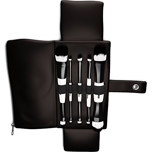 Nylea 5pcs Makeup Brushes Set - Professional Double Sided Cosmetic Brus Kit - Black Carrry Bag Case Holder - Best for Eyes, Face, Skin by Nylea