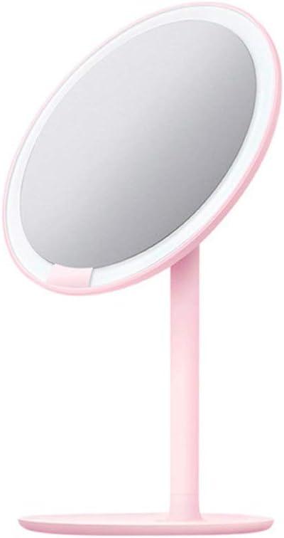 バニティミラー カウンター化粧品メイクアップのためにタッチスクリーン調光LEDライト付き化粧鏡バニティミラー(ホワイト・ピンク) バニティミラーライトポータブル (色 : ピンク, サイズ : 6.5in)