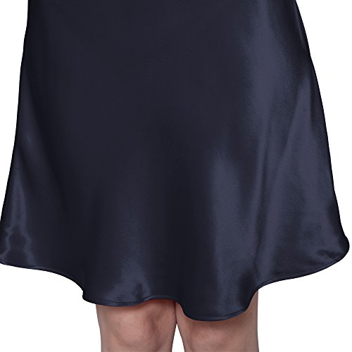 Liysilk Camisón Corto para Mujer 100% Seda de Mora Natural Prevención de las Arrguas Faciales Ropa de Dormir para Mujer 22 Momme Azul Marino