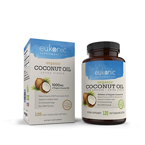 Organic Coconut Oil Capsules Extra Virgin 1000 mg by Eukonic | 120 Softgels | Assists Weight Loss | Supports Healthy Diet & Healthy Cholesterol Levels | Non-GMO | Made in the USA & 3rd Party Tested
