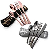 Elegant Portable Utensils Stainless Steel Flatware with Neoprene Case - Cutlery Sets To Go - Reusable, Durable and Eco Friendly - Set of 2 (10 Pieces) - Black and Rose Gold Silverware Larger Image