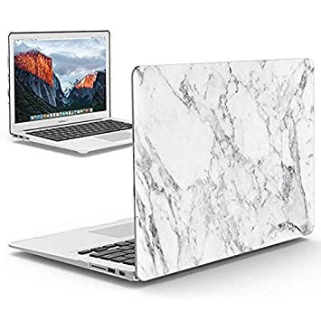 IBENZER Old MacBook Pro 13 Inch case A1278, Soft Touch Hard Case Shell Cover for Apple MacBook Pro 13 with CD-ROM, White Marble, MMP1301WHMB+1