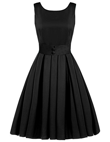 ACEVOG Cocktail Inspired 50's A Rockabilly Vintage Dress Swing black Audrey Hepburn Women's arcwR7naqO
