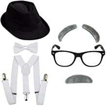 1920's Boys Gangster Costume Set - Short Brim Fedora Hat,Adjustable Suspenders With Pre-Tied Bow Tie, Old Man Eyebrows & Moustache,Nerd Fake Glasses For Kids & Child