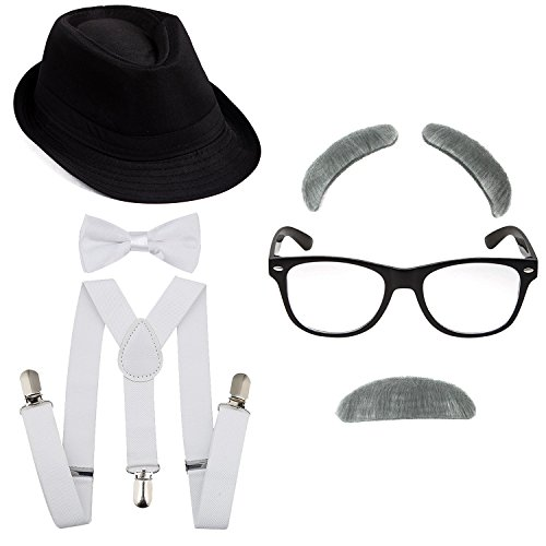 1920's Boys Gangster Costume Set - Short Brim Fedora Hat,Adjustable Suspenders with Pre-tied Bow Tie, Old Man Eyebrows & Moustache,Nerd Fake Glasses for Kids & Child(Black Hat & White Suspenders)