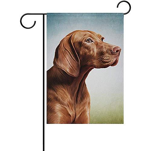 (Staroind Vizsla Pointer Dog Portrait Double-Sided Printed Garden House Sports Flag - 12x18in - 100% Premium Polyester Decorative Flags for Courtyard Garden Flowerpot)