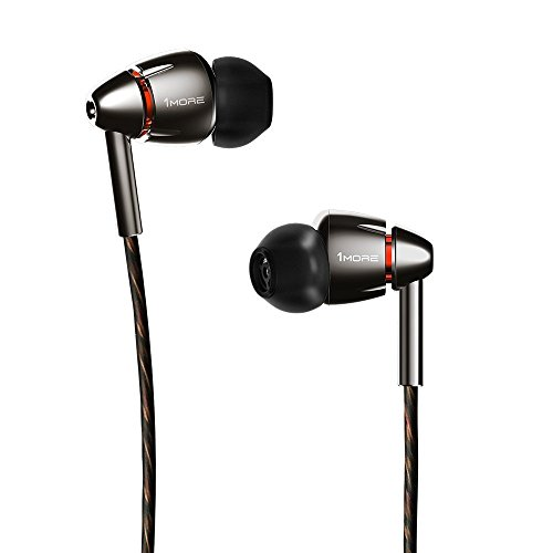 - 1MORE Quad Driver in-Ear Earphones Hi-Res High Fidelity Headphones Warm Bass, Spacious Reproduction, High Resolution, Mic in-Line Remote Smartphones/PC/Tablet - Silver/Gray