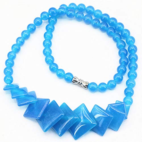 - Drop Pendant | Beads Necklace for Women | Round Chain 10-20Mm | Pendants for DIY Jewelry 6Mm 18 Inch 4 Colors (Blue Jades)