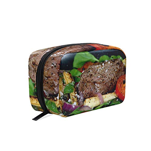Makeup Bag Cosmetic Pouch Clutch Meal Dinner STEAK Meat
