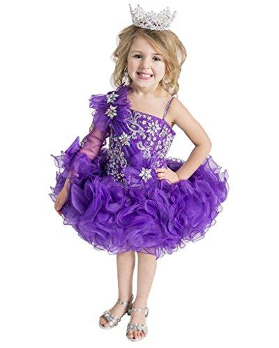 YOGHOURT Baby Girls One Sleeve Flower Beades Pageant Cupcake Dresses 5 US (Cake Dresses)