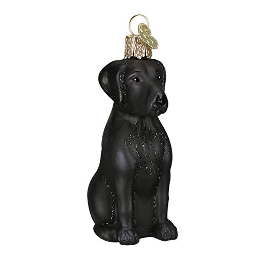 Old World Christmas Ornaments: Black Labrador Glass Blown Ornaments for Christmas -