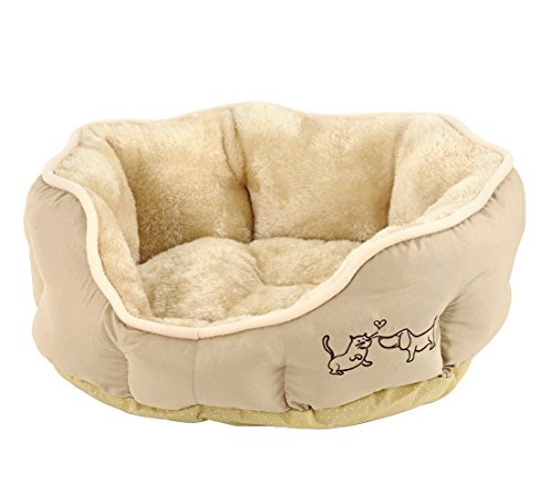 Dehner Dog/Cat Bed Oval Approx. 57 x 52 x 14 cm, Polyester, Beige