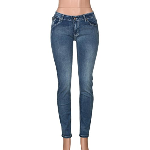Slim Ashop Jeans Pencil Pantaloni Chiaro Pantaloni Skinny Blu Ricamo Fit Da Donna Con Jeans Denim HYqTdY