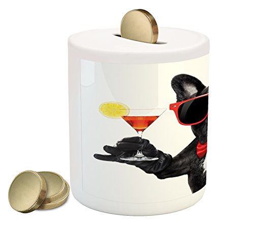 Funny Piggy Bank by Lunarable, French Bulldog Holding Martini Cocktail Ready for the Party Nightlife Joy Print, Printed Ceramic Coin Bank Money Box for Cash Saving, Black Red (Martini Dog Art)
