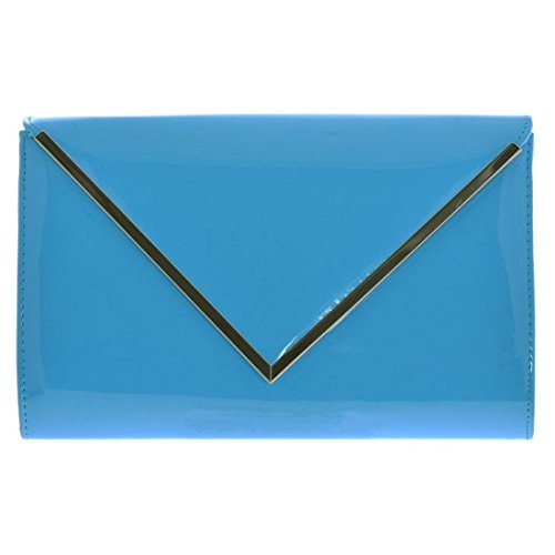 Light Blue Front Handbag Shoulder Bag Everyday Messenger Evening Envelope Clutch Style Patent Purse Flap Wallet q46OtSwx