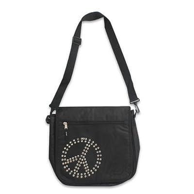 """13.5"""" Polyester Peace Sign Black Messenger Bag (Black)"""
