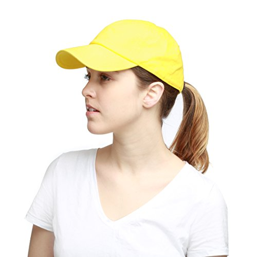The Hat Depot Unisex Blank Washed Low Profile Cotton and Denim Baseball Cap Hat (Yellow)