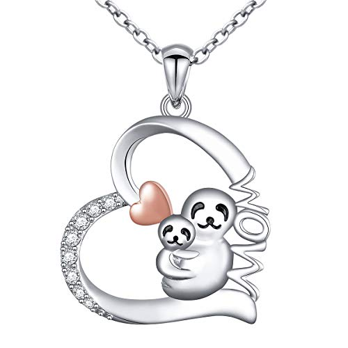 925 Sterling Silver Cute Animal Mom and Baby Sloth Heart Pendant Necklace for Women Teen Girls (Mom Sloth)